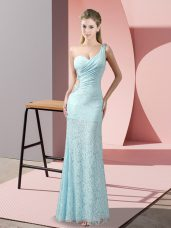 Lace Sleeveless Floor Length Prom Evening Gown and Beading and Lace