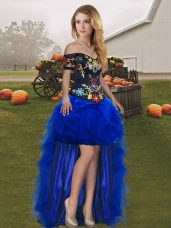 Custom Made A-line Pageant Dress Womens Royal Blue Off The Shoulder Tulle Sleeveless High Low Lace Up