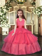 Coral Red Ball Gowns Ruffled Layers Party Dress Wholesale Lace Up Organza Sleeveless Floor Length