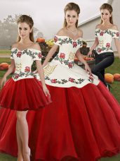 White And Red Off The Shoulder Lace Up Embroidery Quinceanera Gowns Sleeveless