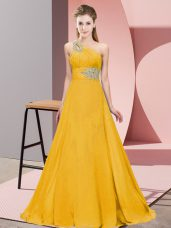Orange Prom Evening Gown One Shoulder Sleeveless Brush Train Lace Up