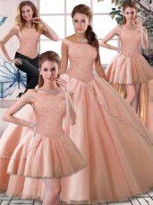 Sumptuous Sleeveless Brush Train Beading Lace Up Vestidos de Quinceanera