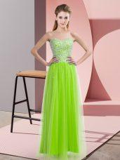 Stunning Floor Length Yellow Green Evening Dresses Sweetheart Sleeveless Lace Up