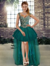 Romantic High Low Lace Up Glitz Pageant Dress Dark Green for Prom and Party with Beading
