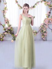 Floor Length Yellow Green Damas Dress V-neck Sleeveless Side Zipper