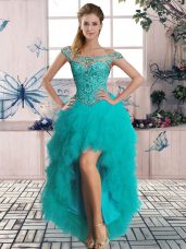 Off The Shoulder Sleeveless Tulle High School Pageant Dress Beading and Ruffles Lace Up