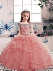 Custom Design Pink Tulle Lace Up Winning Pageant Gowns Sleeveless Floor Length Beading and Ruffles