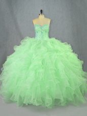 Custom Made Sleeveless Lace Up Floor Length Beading and Ruffles Quinceanera Dresses