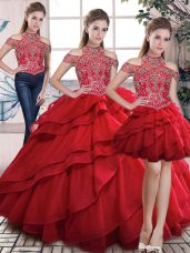 Red High-neck Lace Up Beading and Ruffles Quinceanera Dress Sleeveless