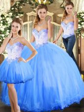 Custom Designed Blue Sleeveless Tulle Lace Up Ball Gown Prom Dress for Sweet 16 and Quinceanera