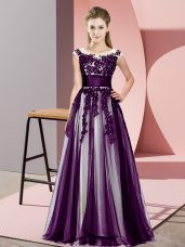 Spectacular Dark Purple Empire Tulle Scoop Sleeveless Beading and Lace Floor Length Zipper Dama Dress for Quinceanera