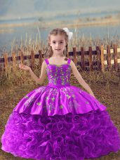 New Style Lilac Child Pageant Dress Wedding Party with Embroidery Straps Sleeveless Sweep Train Lace Up