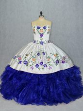 Fantastic Sweetheart Sleeveless Lace Up 15 Quinceanera Dress Royal Blue Tulle