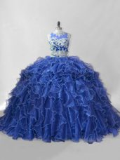 Inexpensive Sleeveless Beading and Ruffles Zipper Quinceanera Gowns with Blue Brush Train