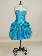 Elegant Ball Gowns Teens Party Dress Teal Sweetheart Taffeta Sleeveless Mini Length Lace Up