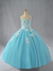 Beauteous Aqua Blue Sleeveless Tulle Lace Up Little Girl Pageant Gowns for Wedding Party