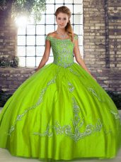 Pretty Green Tulle Lace Up Off The Shoulder Sleeveless Floor Length Sweet 16 Dresses Beading and Embroidery