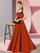Rust Red Empire Square Sleeveless Chiffon Floor Length Zipper Belt Bridesmaid Gown