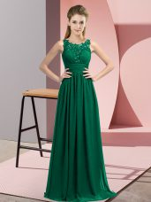Captivating Peacock Green Chiffon Zipper Court Dresses for Sweet 16 Sleeveless Floor Length Beading and Appliques