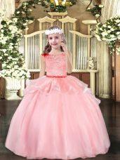 Floor Length Baby Pink Casual Dresses Scoop Sleeveless Zipper
