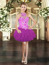 Attractive Sleeveless Mini Length Embroidery and Ruffles Lace Up Prom Dress with Fuchsia