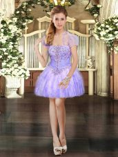 Lavender Organza Lace Up Strapless Sleeveless Mini Length Casual Dresses Beading and Lace and Ruffles