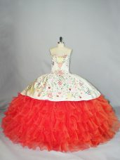 Sweetheart Sleeveless Lace Up Sweet 16 Dress Coral Red Organza