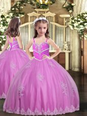 Perfect Tulle Straps Sleeveless Lace Up Appliques Little Girls Pageant Gowns in Lilac