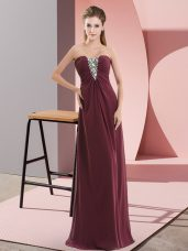 Hot Sale Burgundy Chiffon Zipper Sweetheart Sleeveless Floor Length Glitz Pageant Dress Beading