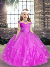 Best Fuchsia Child Pageant Dress For with Beading and Hand Made Flower Straps Sleeveless Lace Up