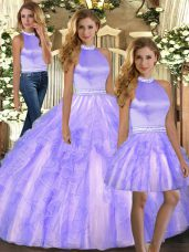 Noble Floor Length Lavender Quinceanera Dress Tulle Sleeveless Beading and Ruffles