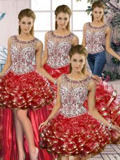 Organza Scoop Sleeveless Lace Up Beading and Ruffles Quinceanera Gown in Red