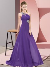 One Shoulder Sleeveless Floor Length Beading Purple Chiffon