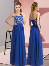 Nice Floor Length Royal Blue Prom Evening Gown Sweetheart Sleeveless Lace Up