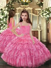 Straps Sleeveless Lace Up Party Dresses Rose Pink Organza