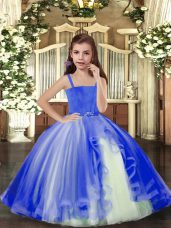 Eye-catching Tulle Straps Sleeveless Lace Up Beading Party Dress for Girls in Blue