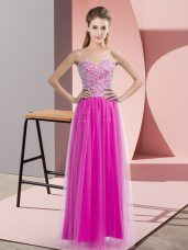 Noble Floor Length Lace Up Fuchsia for Prom and Party with Beading