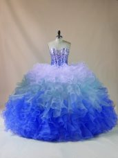 Beading and Ruffles Quinceanera Gown Multi-color Lace Up Sleeveless Floor Length
