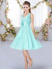 Knee Length Empire Sleeveless Aqua Blue Wedding Guest Dresses Lace Up