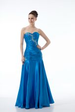 Sleeveless Floor Length Zipper Evening Dresses in Blue with Beading and Ruching