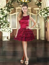 Cute Mini Length Wine Red Prom Party Dress Scoop Sleeveless Lace Up