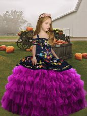 Custom Designed Fuchsia Lace Up Girls Pageant Dresses Embroidery and Ruffled Layers Sleeveless Floor Length