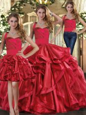 Fashion Red Organza Lace Up Vestidos de Quinceanera Sleeveless Floor Length Ruffles