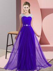 Purple Chiffon Lace Up Scoop Sleeveless Floor Length Vestidos de Damas Beading