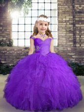 Best Beading and Ruffles Little Girls Pageant Gowns Purple Lace Up Sleeveless Floor Length
