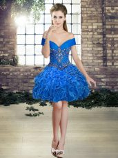 Royal Blue Off The Shoulder Neckline Beading and Ruffles Club Wear Sleeveless Lace Up