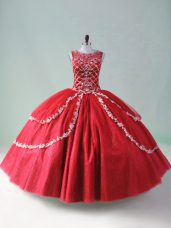 Smart Sleeveless Floor Length Beading and Appliques Zipper Quinceanera Dress with Red