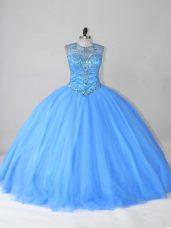 Hot Selling Blue Sleeveless Beading Floor Length Vestidos de Quinceanera