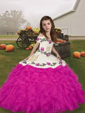 Cute Fuchsia Ball Gowns Straps Sleeveless Organza Floor Length Lace Up Embroidery and Ruffles Party Dress Wholesale