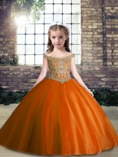 Custom Designed Rust Red Ball Gowns Appliques Party Dress Lace Up Tulle Sleeveless Floor Length